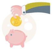 La gente risparmia i loro soldi sul porcellino salvadanaio. Fotografia Stock