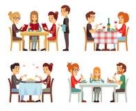 La gente in ristorante che mangia la cena vector i concetti piani royalty illustrazione gratis