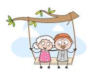 La gente romántica de la edad avanzada de la historieta balancea junta en el ejemplo del vector del parque ilustración del vector