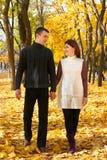 La gente romántica, los pares adultos felices camina en parque de la ciudad del otoño, árboles con las hojas amarillas, el sol br Fotos de archivo libres de regalías