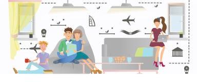 La gente se relaja en un área pública de un parador o de un hotel Ilustración del vector stock de ilustración