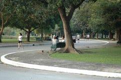 La gente se relaja y jugando deporte en el parque Foto de archivo