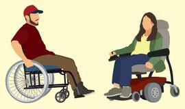 La gente in sedie a rotelle Fotografia Stock Libera da Diritti