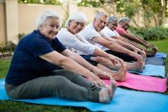 La gente senior felice che fa l'allungamento si esercita al parco Fotografia Stock Libera da Diritti