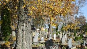 La gente si preoccupa cimitero grave del cimitero di autunno della famiglia il bello archivi video