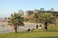 La gente si rilassa sulla spiaggia a Herzliya Pituah, Israele Fotografia Stock Libera da Diritti