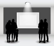 La gente siluetea la mirada en el capítulo vacío en Art Gallery FO Foto de archivo