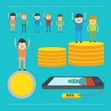La gente sirve y la mujer gana el dinero y la moneda Imágenes de archivo libres de regalías