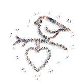 La gente sotto forma di un uccello, cuore illustrazione vettoriale