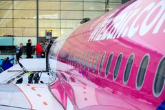 La gente sta andando imbarcare degli aerei immagini stock libere da diritti