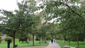 La gente su un percorso del parco con il castello di lusinga nei precedenti fotografie stock libere da diritti