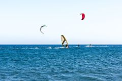 La gente su un praticare il surfing del bordo di navigazione immagine stock libera da diritti