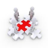 La gente sui pezzi collegati di puzzle Immagini Stock Libere da Diritti