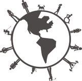 La gente sul globo Immagini Stock Libere da Diritti