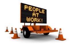 La gente sul lavoro - segno della costruzione Immagine Stock Libera da Diritti