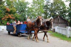 La gente sul vagone del cavallo Immagini Stock Libere da Diritti