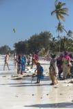 La gente sulla spiaggia di Zanzibar Fotografia Stock Libera da Diritti