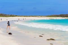 La gente sulla spiaggia nell'isola di Espanola Immagini Stock