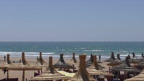 La gente sulla vacanza, spiaggia con gli ombrelli della paglia archivi video