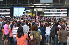 La gente tailandesa protesta contra la corrupción del gobierno de Thaksin contra el área central de Tailandia Fotos de archivo libres de regalías