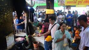 La gente tailandesa respeta la rogación y la visita para bendecir de la estatua de Luang Phor Pak Daeng Buda en Wat Prommanee metrajes