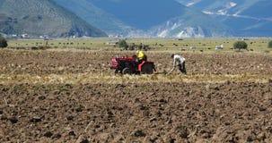 la gente tibetana 4k utilizza il terreno arabile del trattore agricolo in shangrila il Yunnan, porcellana video d archivio