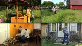 La gente trabaja diversos trabajos del jardín en granja rural Acorta el collage almacen de metraje de vídeo