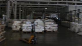 La gente trabaja en almacén grande con las mercancías en la fábrica almacen de metraje de vídeo