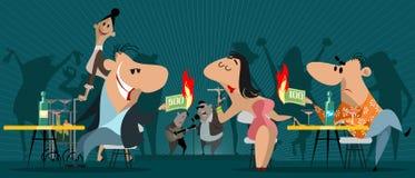 La gente in un'istituzione di notte royalty illustrazione gratis