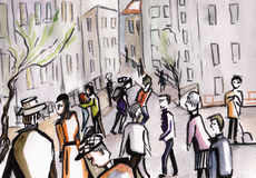 La gente in una città Immagine Stock Libera da Diritti