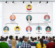 La gente in una conferenza circa la gerarchia di occupazione Immagini Stock