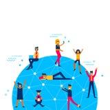 La gente universalmente collegata alla rete sociale di media Immagine Stock Libera da Diritti