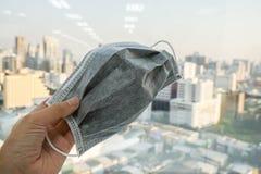 La gente utiliza la máscara para la contaminación P.M. 2 prevención 5 imagenes de archivo