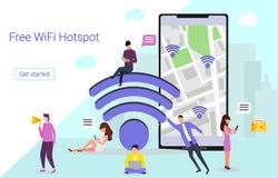 La gente utiliza su smartphone y ordenador portátil libre illustration