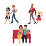La gente va al cinema, film con popcorn, bevande, vetri 3d Immagini Stock