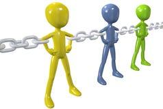 La gente varia si unisce nel gruppo potente di collegamento chain Fotografia Stock