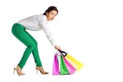 La gente, vendita, concetto nero di venerdì - donna con il sacchetto della spesa Fotografia Stock