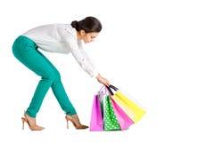 La gente, vendita, concetto nero di venerdì - donna con il sacchetto della spesa Immagini Stock Libere da Diritti