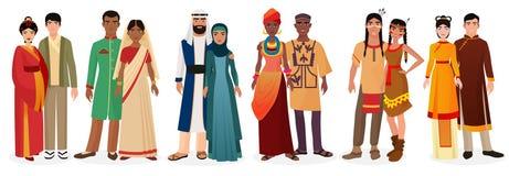 La gente in vestiti tradizionali nazionali del vestito Coppie internazionali L'america indigena, Giappone, porcellana, Arabo musu royalty illustrazione gratis