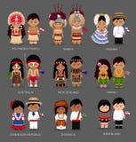 La gente in vestito nazionale L'Australia ed Oceania, l'America e la Groenlandia illustrazione vettoriale