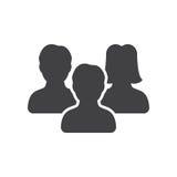 La gente, vettore dell'icona del gruppo, ha riempito il segno piano royalty illustrazione gratis
