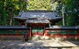 La gente visita il santuario del santuario di Futarasan a Nikko, Giappone Fotografia Stock