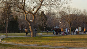 La gente wallking en el jardín Imagen de archivo