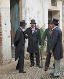La gente in XIX costume di secolo Immagine Stock Libera da Diritti