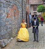 La gente in XIX costume di secolo Fotografia Stock