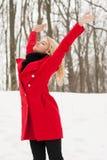 La gentille fille est heureuse en hiver photographie stock libre de droits