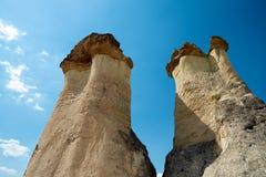 La geografía exótica de Cappadocia, Goreme, cono de Turkey foto de archivo libre de regalías