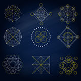 La geometría firma adentro el fondo azul libre illustration
