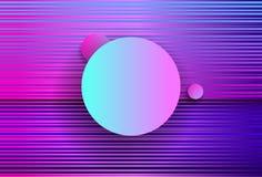 La geometria astratta futuristica con i cerchi e le onde rosa cyberpunk Stile di Synthwave Vaporwave Retrowave Vettore olografico royalty illustrazione gratis