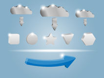 la geometria 3D con le frecce e le nuvole blu Fotografie Stock